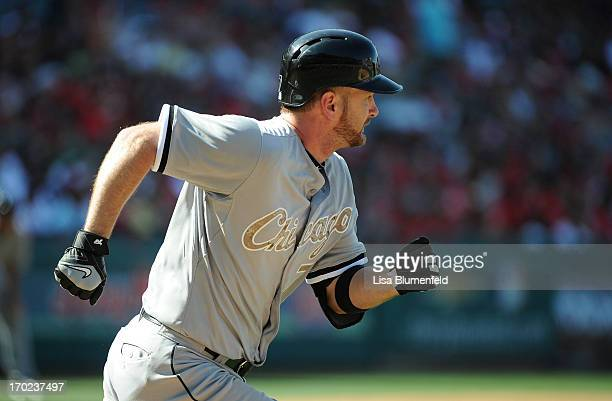 Jeff Keppinger of the Chicago White Sox runs to first base during the game against the Los Angeles Angels of Anaheim at Angel Stadium of Anaheim on...