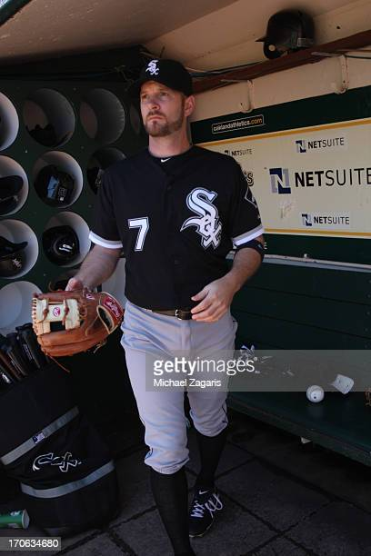 Jeff Keppinger of the Chicago White Sox stands in the dugout prior to the game against the Oakland Athletics at Oco Coliseum on June 1 2013 in...