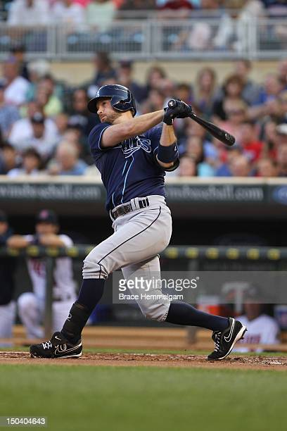 Jeff Keppinger of the Tampa Bay Rays bats against the Minnesota Twins on August 10 2012 at Target Field in Minneapolis Minnesota The Rays defeated...