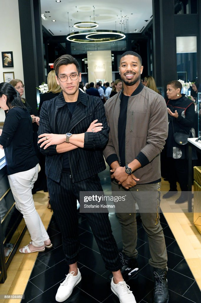 Jeff Kim and Michael B. Jordan attend Piaget Celebrates Brand Ambassador Michael B. Jordan In Support Of Lupus LA at Piaget on October 5, 2017 in Beverly Hills, California.