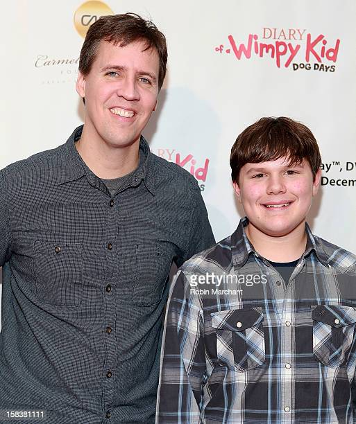 Jeff Kinney and Robert Capron attend the 'Diary Of A Wimpy Kid Dog Days' Special Screening Hosted By The Carmelo Anthony Foundation at AMC Empire on...