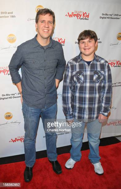 Jeff Kinney and Rpbert Capron attend the Diary Of A Wimpy Kid Dog Days screening at AMC Empire 25 theater on December 14 2012 in New York City