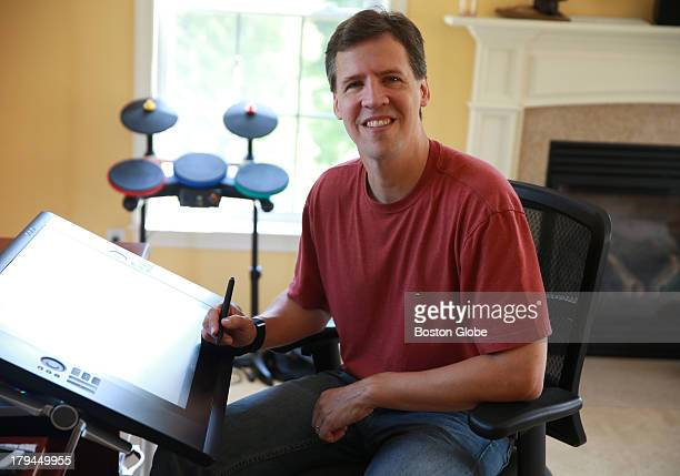 Jeff Kinney author of Diary of a Wimpy Kid in his work area He has a small house next to his family's home where he writes and also does karaoke with...