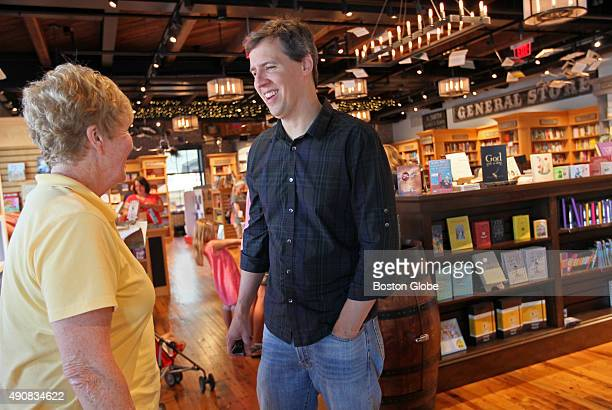 Jeff Kinney author of Diary of a Wimpy Kid'' series stops and chats with a North Attleboro Mass educator at his new Plainville Mass bookstore An...