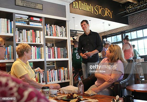 Jeff Kinney author of Diary of a Wimpy Kid'' series stops and chats with North Attleboro Mass educators at his new Plainville Mass bookstore An...