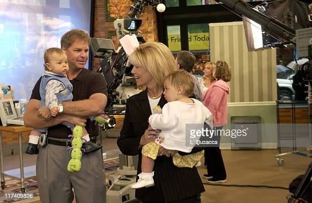 Jeff Konigsberg and Joan Lunden on the Good Morning America set with their children Max and Kate Konigsberg