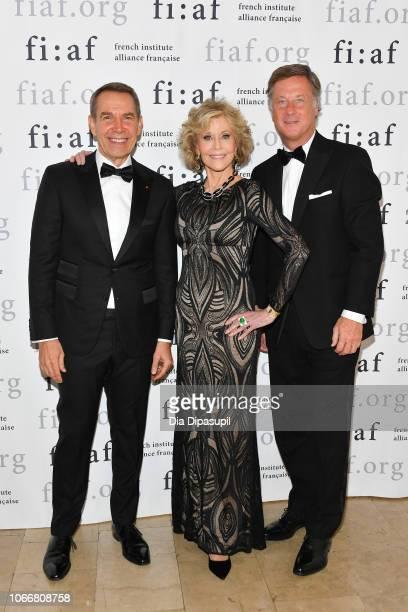 Jeff Koons Jane Fonda and Sébastien Bazin attend the 2018 Trophee des Arts Gala at The Plaza Hotel on November 12 2018 in New York City