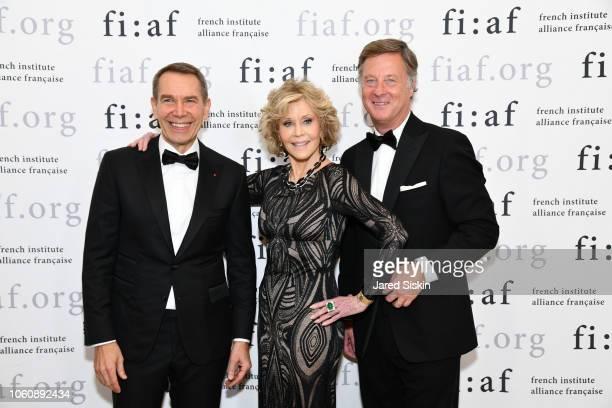 Jeff Koons Jane Fonda and Sebastien Bazin attend FIAF Trophee des Arts Gala at The Plaza Hotel on November 12 2018 in New York City