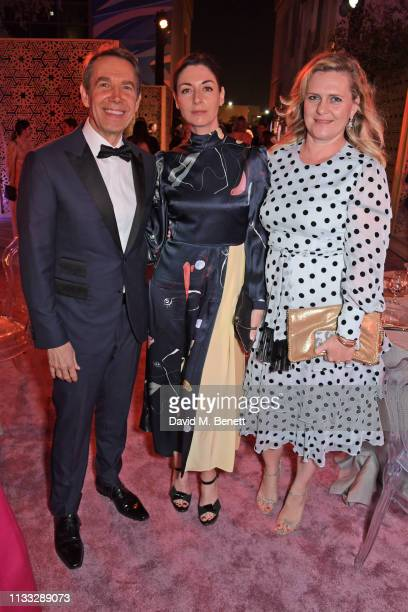 Jeff Koons Mary McCartney and Justine Wheeler Koons attend the Fashion Trust Arabia Prize awards ceremony on March 28 2019 in Doha Qatar