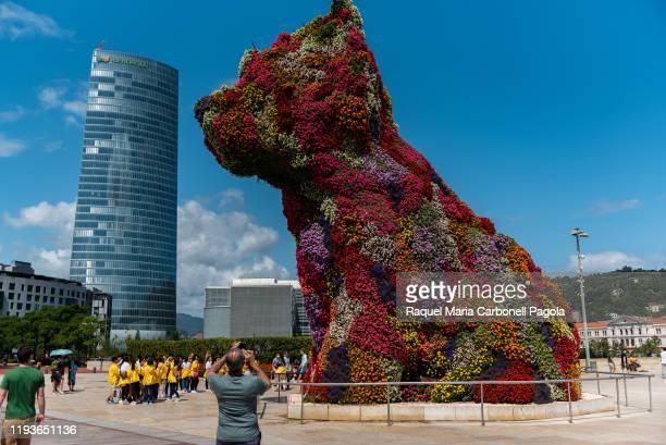 Jeff Koons Puppy dog sculpture in Guggenheim museum next to Iberdrola tower.