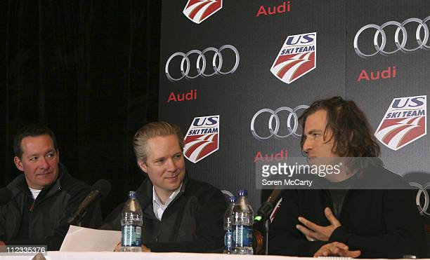 Jeff Kuhlman Scott Keogh and Brett Morgen attend an Audi of America and US Ski Team press conference November 18 2009 in Copper Mountain Colorado