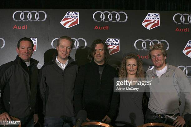 Jeff Kuhlman Scott Keogh Brett Morgen Sarah Schleper and Ted Ligety attend an Audi of America and US Ski Team press conference November 18 2009 in...