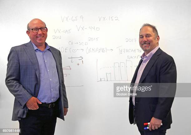 Jeff Leiden left President/CEO/Chairman and David Altshuler Executive Vice President of Global Research and Chief Scientific Officer pose for a...