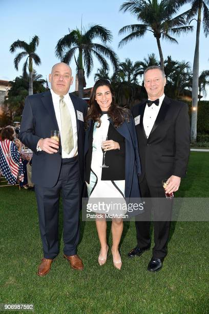 Jeff Lent Tobi Petrocelli and General Raymond Palumbo attend President Trump's one year anniversary with over 800 guests at the winter White House at...
