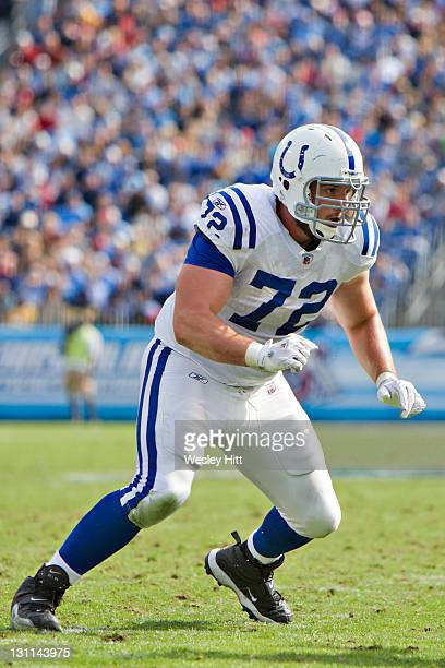 Jeff Linkenbach of the Indianapolis Colts blocks during a game against the Tennessee Titans at the LP Field on October 30 2011 in Nashville Tennessee...