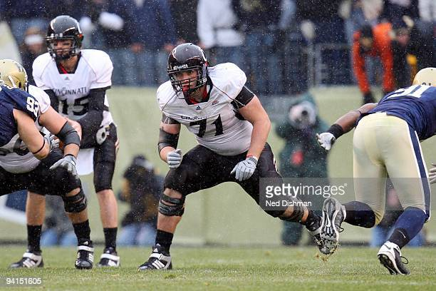 Jeff Linkenbach of the University of Cincinnati Bearcats blocks during the game against the University of Pittsburgh Panthers at Heinz Field on...