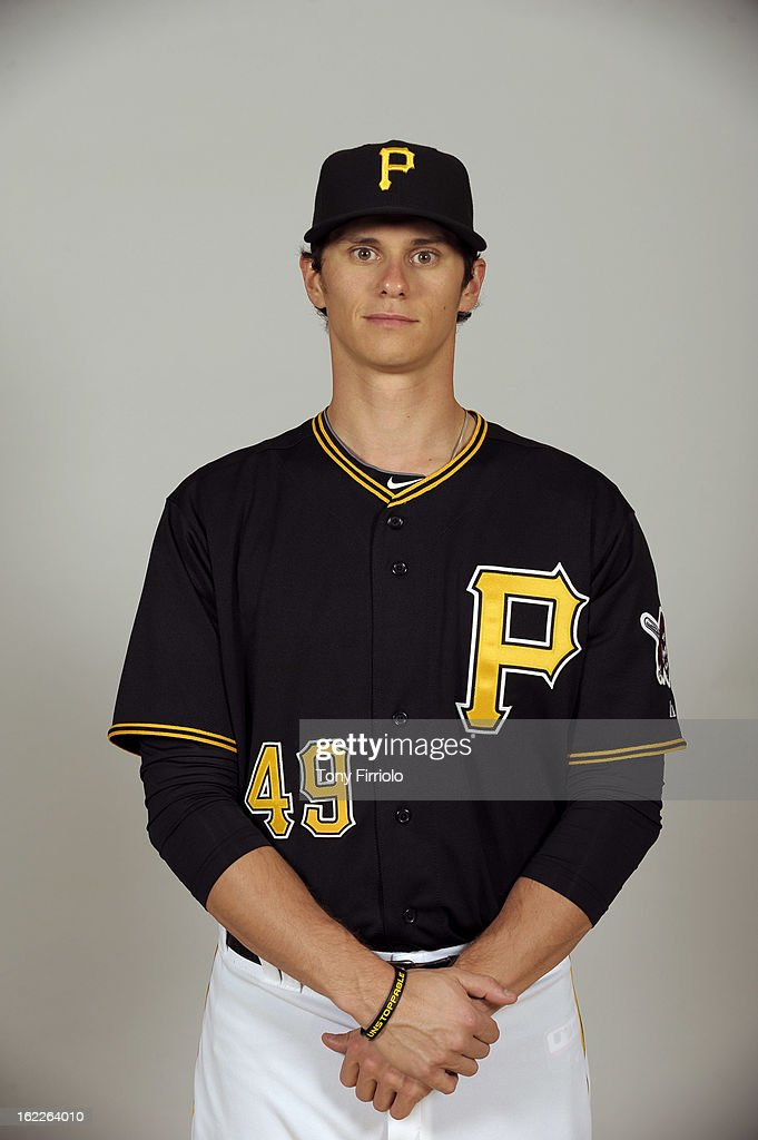 Jeff Locke #49 of the Pittsburgh Pirates poses during Photo Day on February 17, 2013 at McKechnie Field in Bradenton, Florida.
