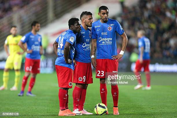 Jeff Louis Andy Delort and Ronny Rodelin of Caen during the Football french Ligue 1 match between FC Nantes and SM Caen at Stade de la Beaujoire on...