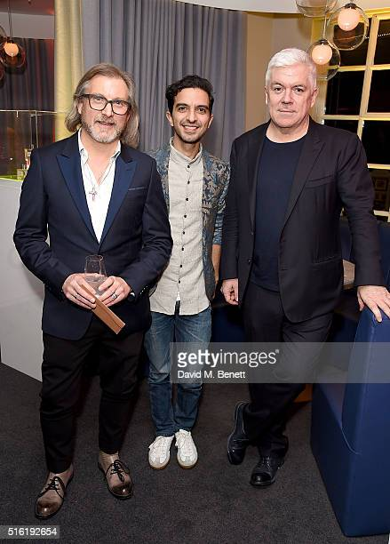 Jeff Lounds, Imran Amed and Tim Blanks attend the OdeJo Launch Party at Harvey Nichols on March 17, 2016 in London, England.