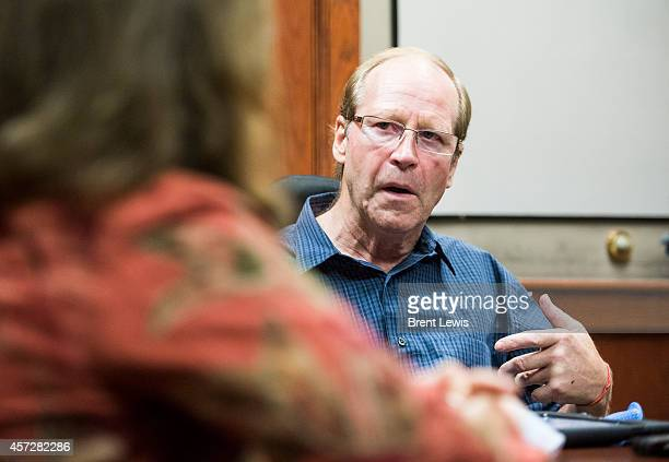 Jeff Lowe talks with his partner Connie Self during an interview Wednesday October 15 2014 at the American Mountaineering Center in Golden Colorado...
