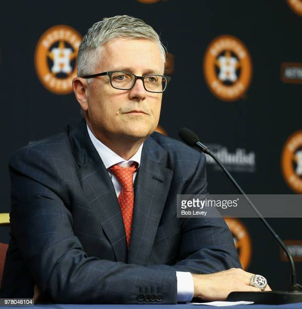 Jeff Luhnow addresses the media after being named President of Baseball Operations and General Manager of the Houston Astros and received a contract...