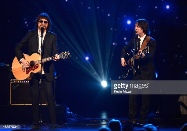 Jeff Lynne and Dhani Harrison perform onstage at 'The Night That Changed America A GRAMMY Salute To The Beatles' at Los Angeles Convention Center on...