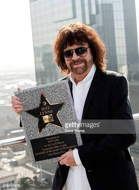 Jeff Lynne is presented with a star on the Walk of Stars at Birmingham New Library on March 13 2014 in Birmingham England