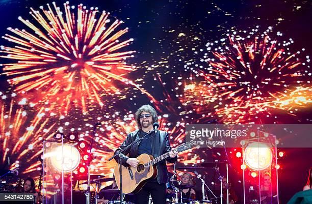 Jeff Lynne of ELO performs on the Pyramid Stage at Glastonbury Festival 2016 at Worthy Farm Pilton on June 26 2016 in Glastonbury England
