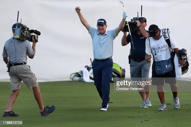 Jeff Maggert celebrates after an eagle shot from the fairway to win the Charles Schwab Cup Championship on the third playoff hole during the final...