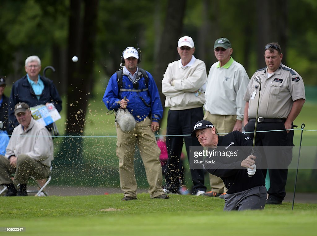 Jeff Maggert hits from a bunker on the ninth hole during the first round of the Regions Tradition at Shoal Creek on May 15, 2014 in Shoal Creek, Alabama.