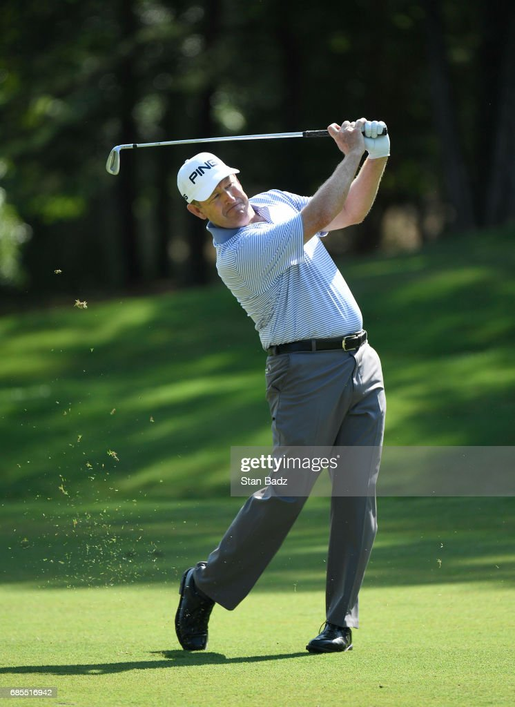 Jeff Maggert plays a shot on the first hole during the second round of the PGA TOUR Champions Regions Tradition at Greystone Golf & Country Club on May 19, 2017 in Birmingham, Alabama.
