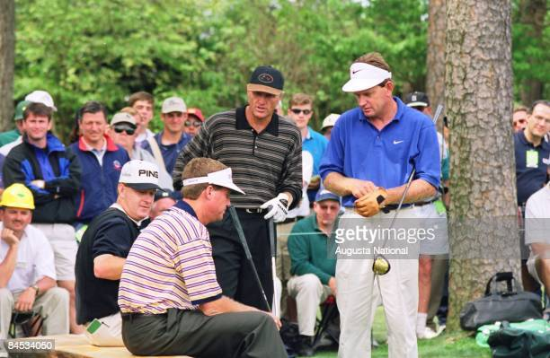 Jeff Maggert Steve Elkington Greg Norman and Nick Price wait to tee off during the 1997 Masters Tournament at Augusta National Golf Club on April...