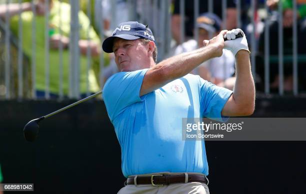 Jeff Maggert tees off hole during the second round of the Mitsubishi Electric Classic tournament at the TPC Sugarloaf Golf Club Saturday April 15 in...