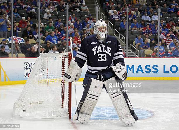 Jeff Malcolm of the Yale Bulldogs protects thet net against the UMass Lowell River Hawks during the game at Consol Energy Center on April 11 2013 in...