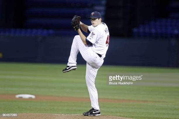 Jeff Manship of the Minnesota Twins pitches to the Chicago White Sox in his first start in the Major Leagues on September 1 2009 at the Metrodome in...