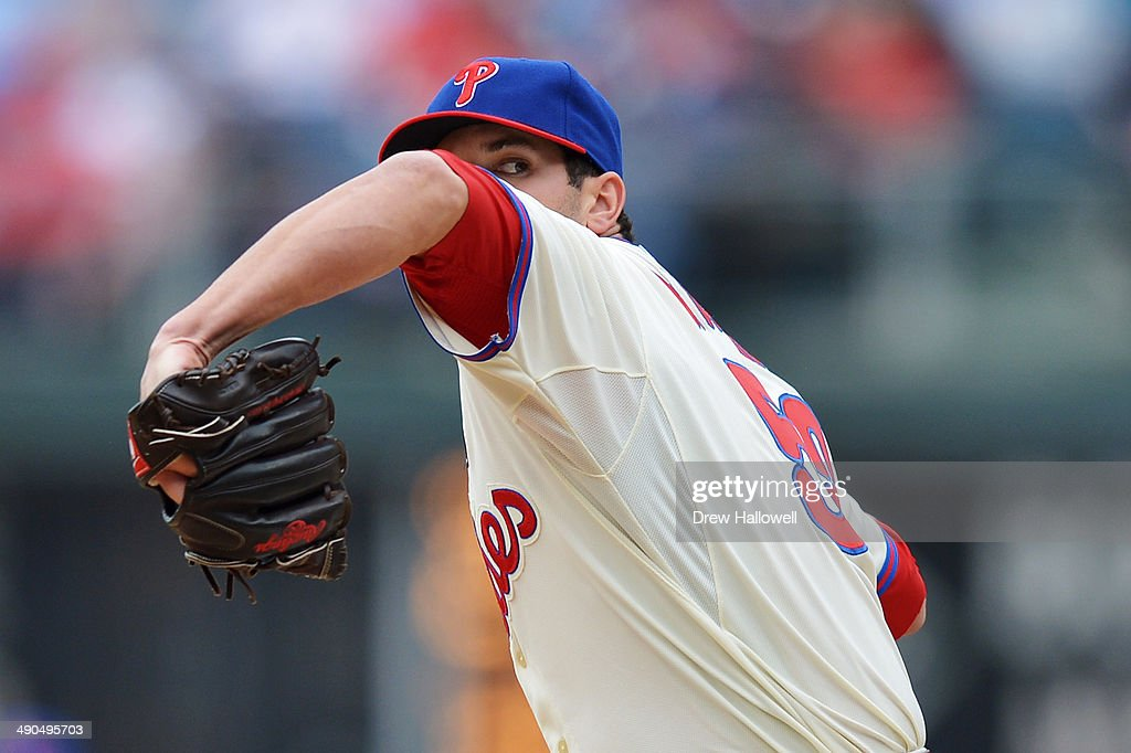 Jeff Manship #52 of the Philadelphia Phillies delivers a pitch in the sixth inning against the Los Angeles Angels at Citizens Bank Park on May 14, 2014 in Philadelphia, Pennsylvania. The Angels won 3-0.