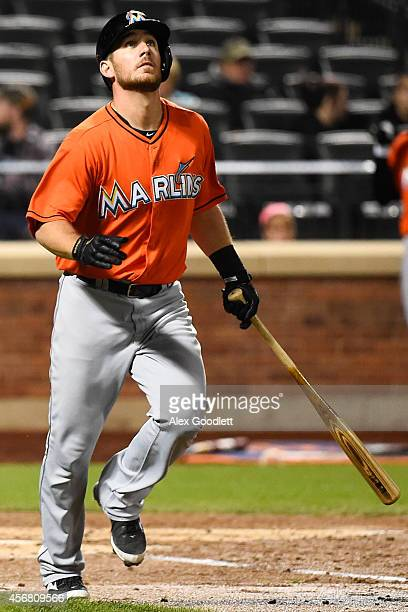 Jeff Mathis of the Miami Marlins watches a hit during a game against the New York Mets at Citi Field on September 17 2014 in the Flushing...