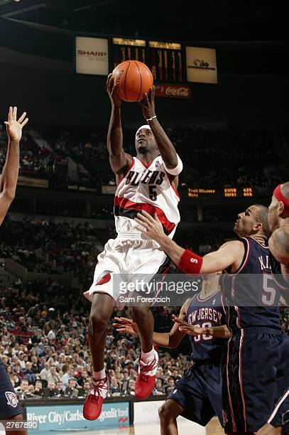 Jeff McInnis of the Portland Trail Blazers goes up against the New Jersey Nets on November 28 2003 at the Rose Garden Arena in Portland Oregon NOTE...