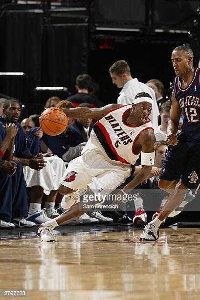 Jeff McInnis of the Portland Trail Blazers runs in a deep turn during a game against the New Jersey Nets on November 28 2003 at the Rose Garden Arena...