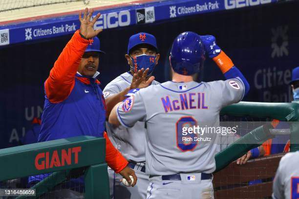 Jeff McNeil Marcus Stroman and manager Luis Rojas of the New York Mets in action against the Philadelphia Phillies during a game at Citizens Bank...