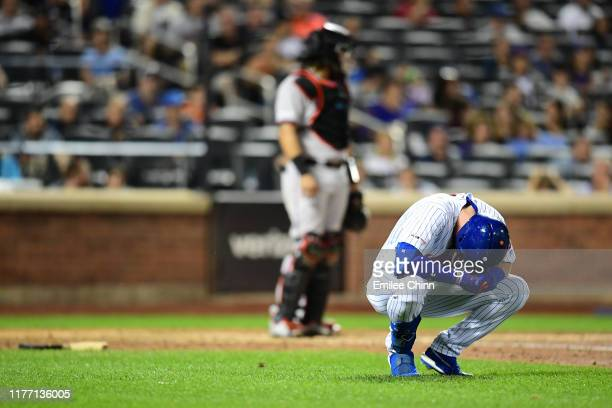 Jeff McNeil of the New York Mets reacts after being hit with a ball in the sixth inning of their game against the Miami Marlins at Citi Field on...