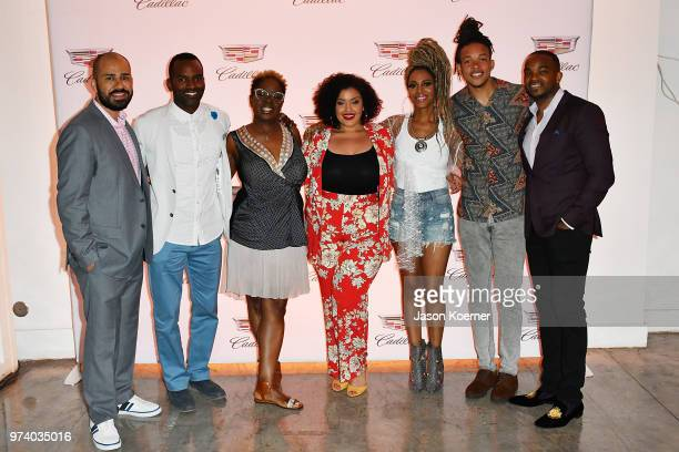 Jeff Meza RahsanRahsan Lindsay Robyn Greene Arrington Allison McGevna Jade Novah and Detavio Samuels attend the Cadillac Welcome Luncheon At ABFF...
