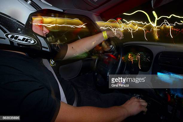 Jeff Milton races his Ford Ranger pick–up during legal street racing at Qualcomm Stadium in San Diego on Friday Oct 17 2002 Milton is a senior at...