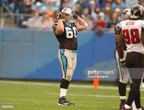 Jeff Mitchell of the Carolina Panthers adjusts his helmet during the game against the Atlanta Falcons on December 4, 2005 at Bank of America Stadium...