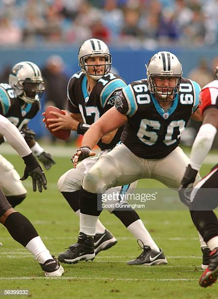 Jeff Mitchell of the Carolina Panthers pass blocks against the Atlanta Falcons on December 4, 2005 at Bank of America Stadium in Charlotte, North...