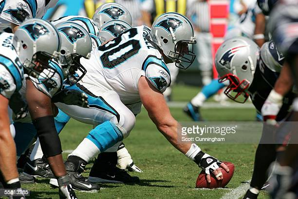 Jeff Mitchell of the Carolina Panthers prepares for the snap against the New England Patriots at Bank of America Stadium on September 18, 2005 in...