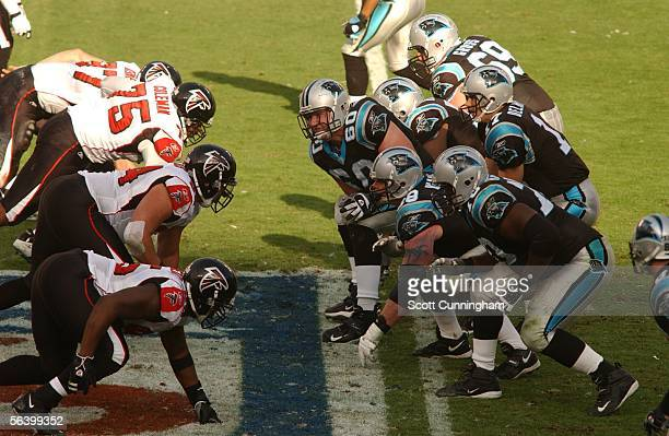 Jeff Mitchell of the Carolina Panthers snaps the ball against the Atlanta Falcons on December 4 2005 at Bank of America Stadium in Charlotte North...