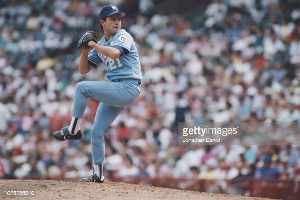 Jeff Montgomery Pitcher for the Kansas City Royals prepares to throw during the Major League Baseball AmericanLeague West game against the Chicago...