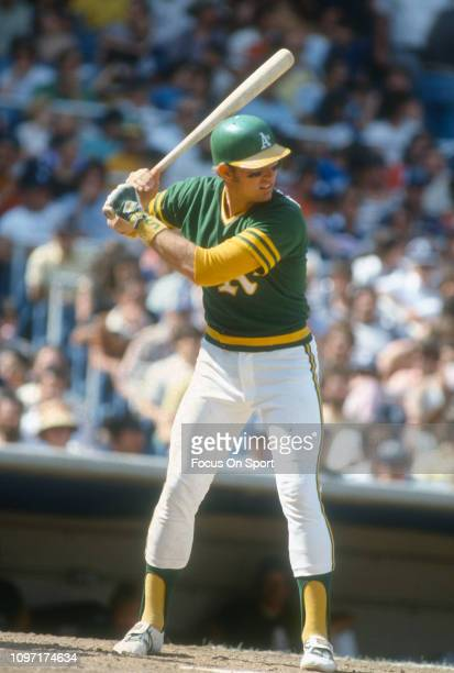 Jeff Newman of the Oakland Athletics bats against the New York Yankees during an Major League Baseball game circa 1980 at Yankee Stadium in the Bronx...