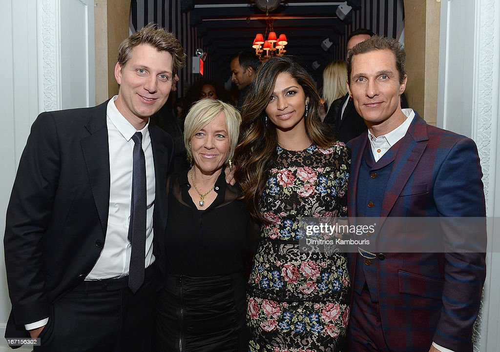 Jeff Nichols, Sarah Green, Camila Alves and Matthew McConaughey attend the after party for The Cinema Society with FIJI Water & Levi's screening of 'Mud' at Harlow on April 21, 2013 in New York City.